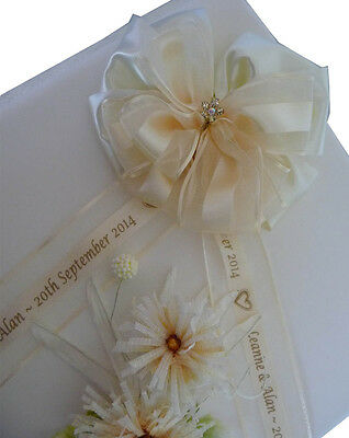 Personalised ribbon bow organza & polyester for wedding christening anniversary - Personalized Ribbon For Wedding