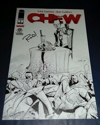 Image Comic Chew 1 Larrys Comics Black White Sketch Variant Signed Rob Guillory