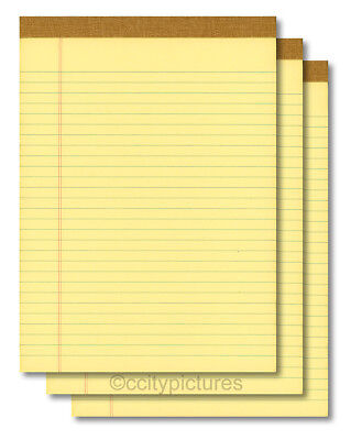 3 8.5 X 11 100 Sheet Yellow Writing Paper Note Pads - Made In Usa - New