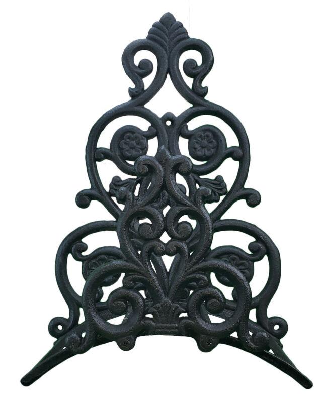 "Floral & Spade Garden Hose Holder - Black Cast Iron - 13.25"" Tall"