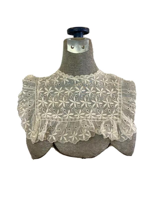 "Vintage Edwardian RBG Embroidered Square Lace Collar 16"" Neckline"