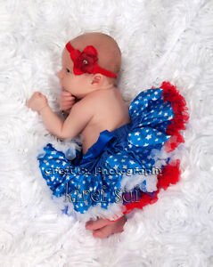 Newborn Baby 4th of July Blue Star White Red Party Pageant Pettiskirt Tutu 0-6M