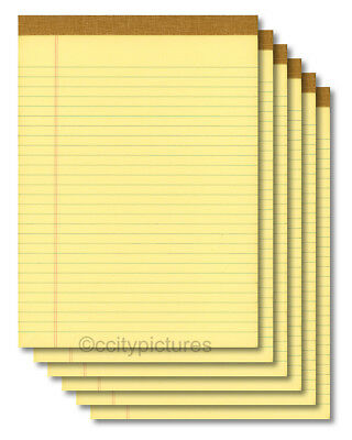 6 8.5 X 11 100 Sheet Yellow Writing Paper Note Pads - Made In Usa - New