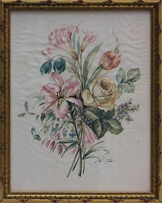 Blumengebinde Seidendruck dekorativ gerahmt