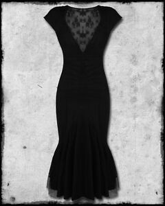 SPIN-DOCTOR-ARIANA-BLACK-STEAMPUNK-GOTH-MESH-VTG-VICTORIAN-FISHTAIL-PENCIL-DRESS