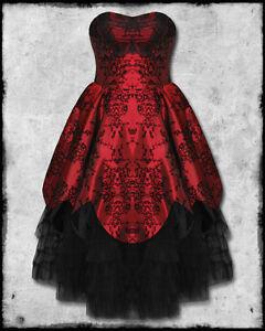 Hell-Bunny-Majesty-Red-Black-Flocked-Satin-Goth-Steampunk-Victorian-Prom-Dress
