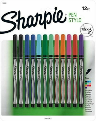Sharpie Pen | Fine Point Assorted Colors Quick Drying Ink 12 Count