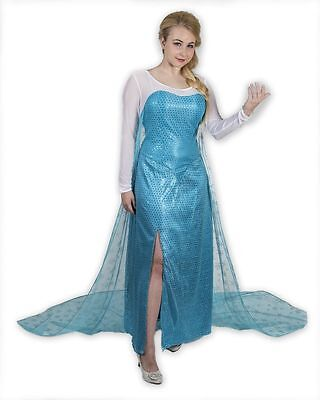 Frozen Princess Elsa Gown Inspired Adult Costume Cosplay Blue Dress - Elsa Dress Adults