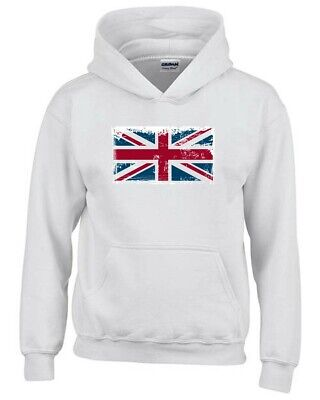 Kapuzen-Sweatshirt fur Kinder Weiss T0761 england flag union jack politica Kinder Sweatshirt Flag