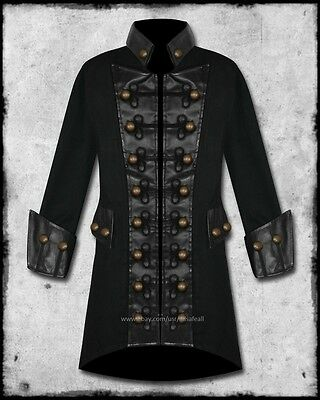 MENS GOTH-STEAMPUNK COPPER BUTTON MILITARY PIRATE COSTUME COAT JACKET