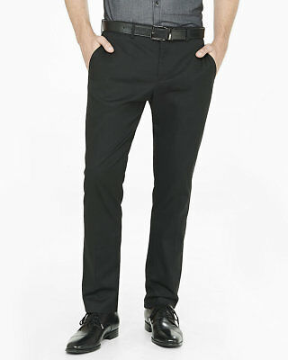 NEW EXPRESS MENS BLACK SLIM PHOTOGRAPHER STRETCH COTTON DRESS PANT SZ 32/32