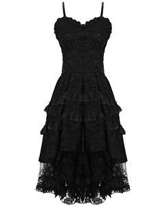 Dark-In-Love-Gothique-Robe-Bal-Noir-VTG-Victorien-Steampunk-Lacets
