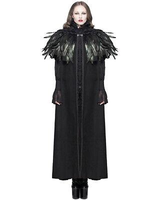 Devil Fashion Mujer Capa Abrigo Negro con Capucha Cuervo Pluma Gótico Steampunk