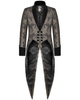 Punk Rave Mens Gothic Tailcoat Jacket Black Gold Brocade Steampunk Aristocrat