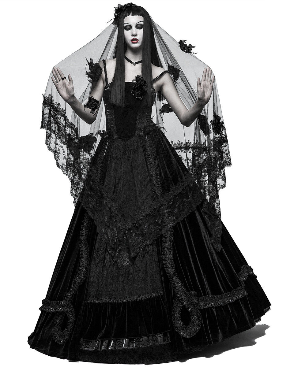 PUNKRAVE BLACK VINTAGE WEDDING GOTHIC VEIL WITH FLOWING MESH HEADWEAR S-224 Clothing, Shoes & Accessories