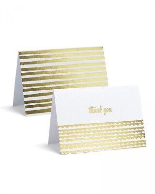Correspondence Envelopes - Gold Foil Correspondence Set, 8 Note Cards, 8 Thank You Cards and 16 Envelopes