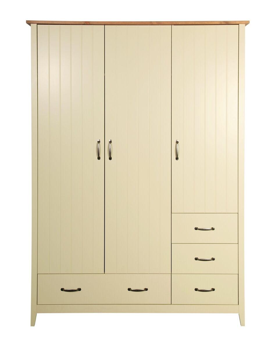 Steens Norfolk Kleiderschrank 3 trg. mit Schubladen Cremeweiß Kiefer eichefarben