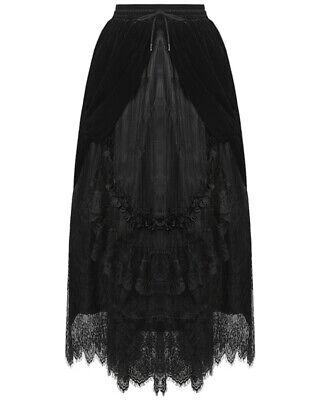 Dark in Love Long Gothic Skirt Black Velvet Lace Steampunk VTG Victorian Bustle
