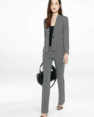 "NEW EXPRESS $208 PIXEL PRINT 24"" JACKET COLUMNIST PANT 2PC SUIT SZ 6"