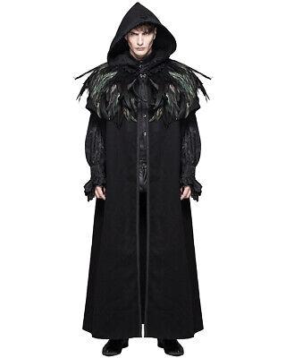 Devil Fashion Hombre Capa Abrigo Negro con Capucha Cuervo Pluma Gótico Steampunk