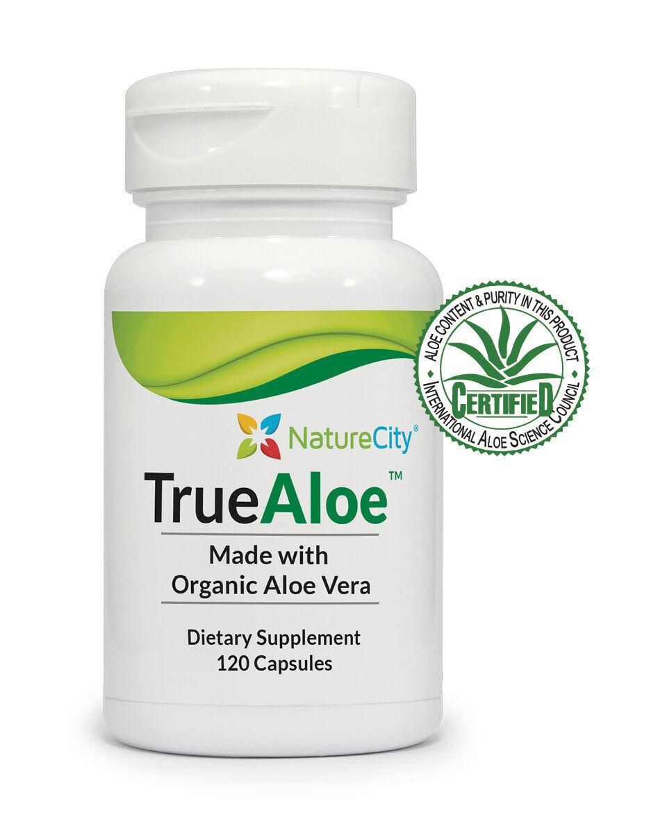 TrueAloe 100% Organic Aloe Vera Supplements - 120 Capsules p