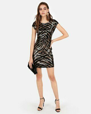 EXPRESS animal print sequin gold black dress - Animal Sequin Dress