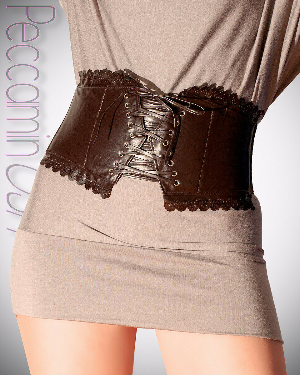 Cinta Donna Stringivita Vita Alta Sottobusto ecopelle Cinturone Cintura Stringhe