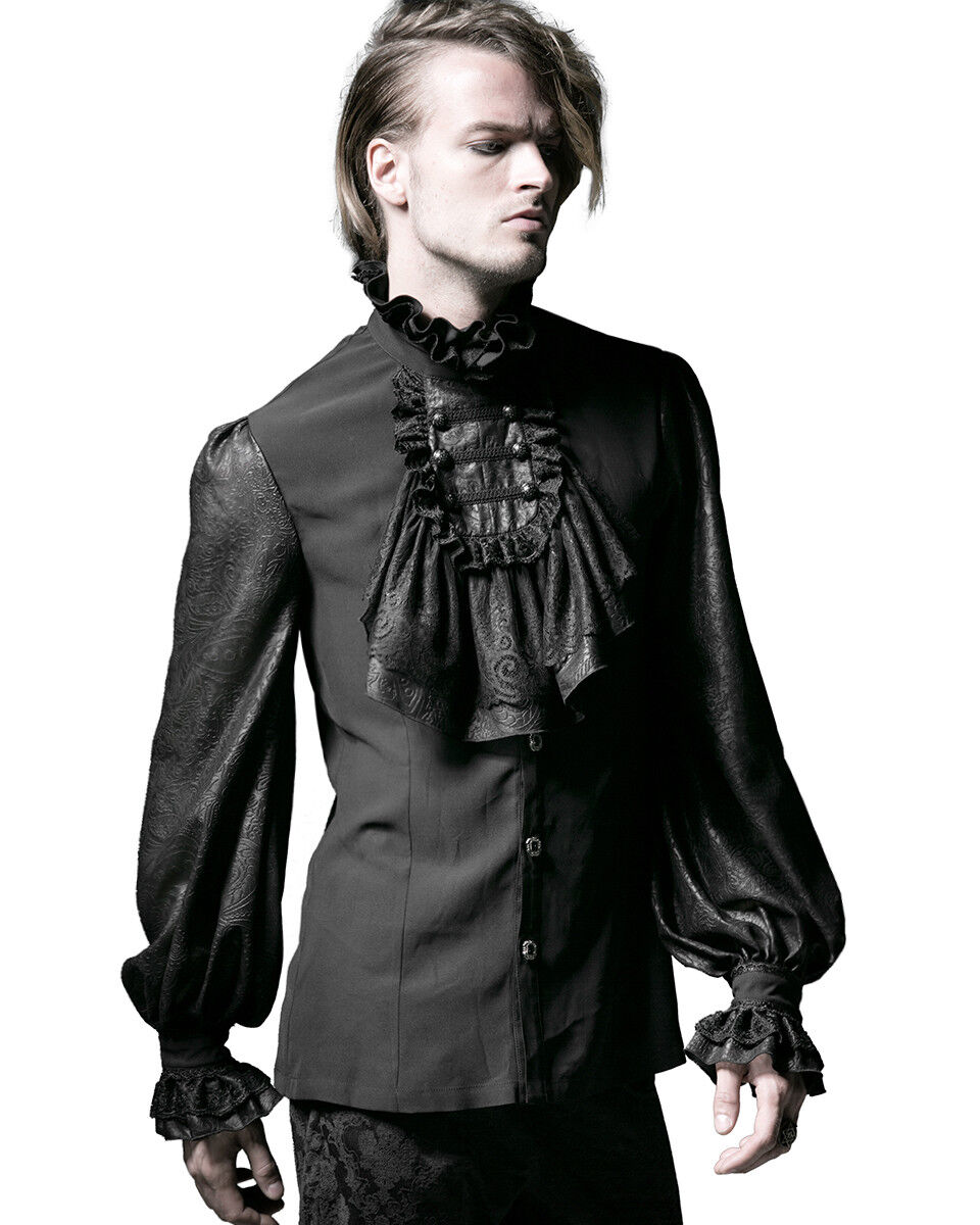 PUNKRAVE RETRO VINTAGE VAMPIER GOTHIC FAKE SHIRT BLACK COLLAR NECKTIES S-150 Clothing, Shoes & Accessories