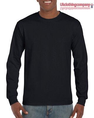Erwachsene Ultra Cotton T-shirt (Schwarz Erwachsene Gildan Langärmelig Ultra Cotton T-Shirt Herren Top S M L XL)