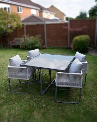 Garden Furniture - B Grade Seconds Garden Dining Furniture Outdoor Patio Cube Set Grey