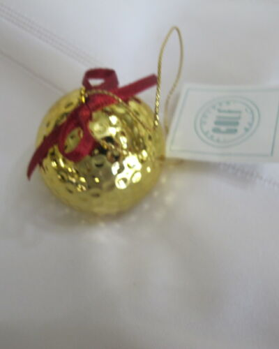 Golden Golf Ball Christmas Ornament In Original Box Scottish Tale Lucky Golfer