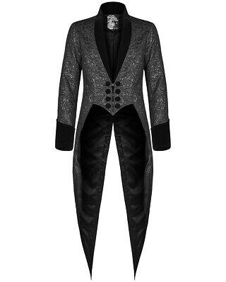 Punk Rave Mens Gothic Tailcoat Jacket Black Brocade Steampunk Aristocrat Regency