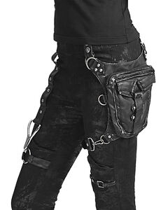 Punk Rave Hip Bag Black Steampunk DieselPunk Goth VTG Faux Leather Satchel LARP
