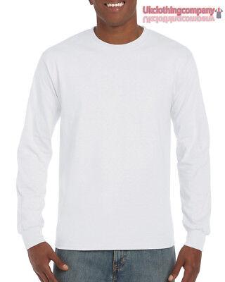 Erwachsene Ultra Cotton T-shirt (Weiß Erwachsene Gildan Langärmlig Ultra Cotton T-Shirt Herren Oberteile S M L XL)