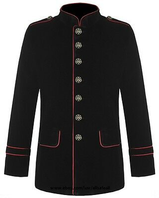 Mens Military Coat Red Piping Jacket Black Gothic Steampunk VTG Style](Gothic Coats Mens)