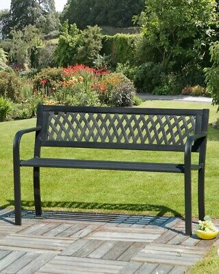 Metal Garden Bench 2 Seater Outdoor Seating Lattice Plastic Back Black