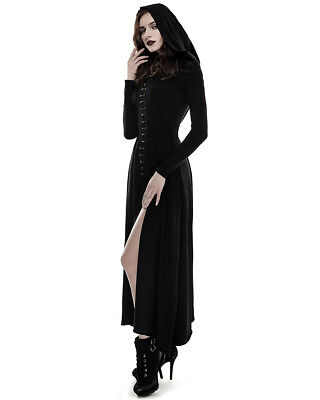 PUNKRAVE BLACK WITCH KNITTED SLIM HOODED CORSET GOTHICK EVENING LONG DRESS Q-290 - Long Black Witch Dress