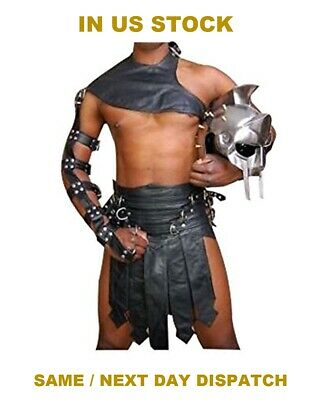 Men Real Black Cow Leather Roman Gladiator Kilt Heavy Duty Set LARP - Cow Costume For Men