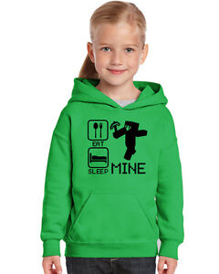 Minecraft Inspired, Eat Sleep Mine Funny CHILDS Hoody Hoodie,With or Without Tag