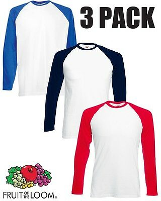3 Pack of Fruit of Loom Men Long Sleeve Baseball T-Shirt Top Cotton Plain Casual