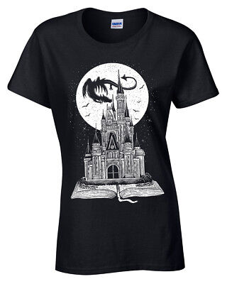 Fairy Tail Book T-Shirt Womens cute Story Dragon Castle Fantasy Moon Ladies