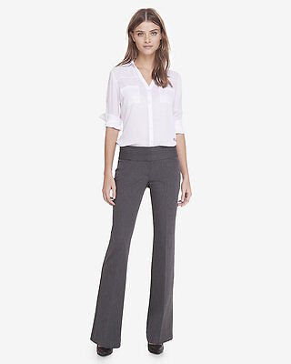 NEW EXPRESS $80 MEDIUM CHARCOAL LOW RISE WIDE WAISTBAND FLARE EDITOR PANTS SZ 0