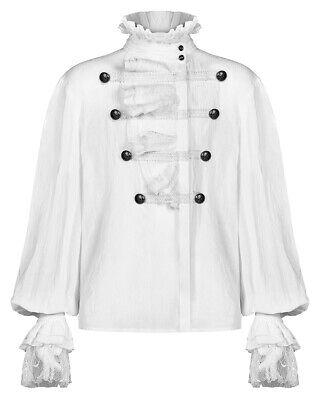 Punk Rave Mens Gothic Shirt Top White Steampunk Regency Aristocrat Lace Ruffle