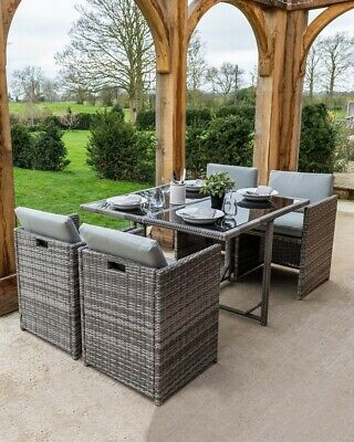 Garden Furniture - Grey Rattan Cube Glass Topped Dining 4 Seat Garden Furniture Set Cushions