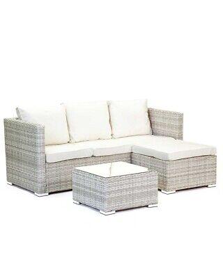 Garden Furniture - Grey Rattan Sofa Set Glass Top Table Footstool Garden Furniture Cushions Cream
