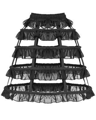 Dark In Love Womens Gothic Crinoline Hoop Skirt Black Petticoat Bustle Steampunk