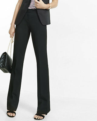 NEW EXPRESS $70 BLACK LOW RISE NOTCH BACK FLARE EDITOR PANTS SZ 6