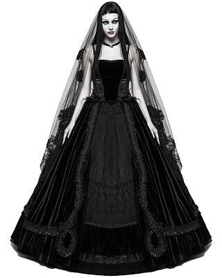 PUNKRAVE VELVET LACE LONG BLACK GOTHIC WEDDING VAMPIRE WITCH BALL DRESS Q-339 - Long Black Witch Dress