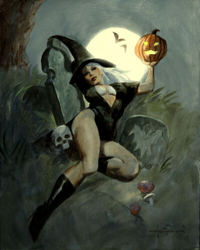 THE WITCH SPELL! Halloween Horror Mike Hoffman Art Print SIGNED!