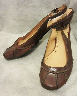 GIANNI BINI Brown Leather Sculptured Low Heel Slingback Round Toe Pumps Flats 6
